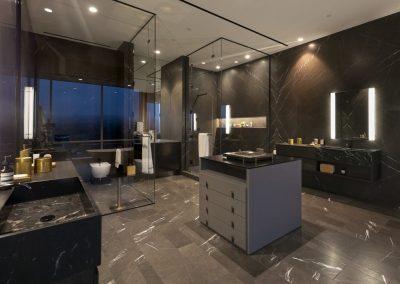 Custom Made Bathroom Cabinets at Night